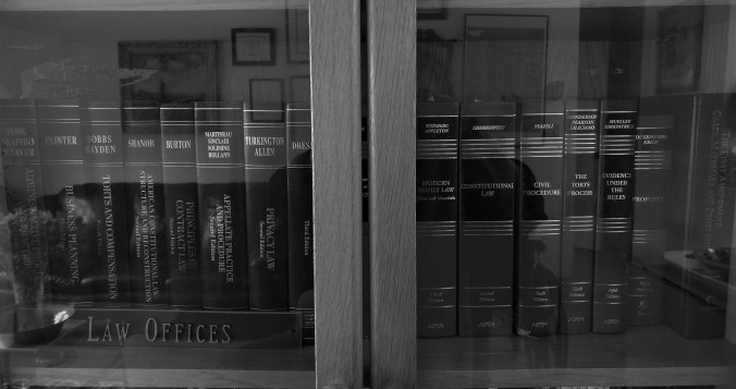 Closeup photo of bookcase with legal books